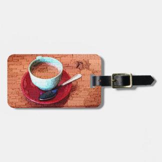 Espresso-Schalen-und Löffel-Wort-Wolke Kofferanhänger