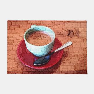 Espresso-Schalen-und Löffel-Wort-Wolke Türmatte