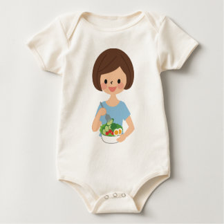 Essen des Salats Baby Strampler