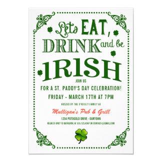 Essen/Drink/Be irische St.Pat Party Einladungen