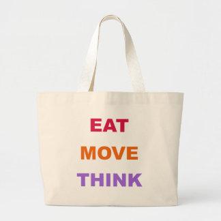 Essen Sie Bewegung denken riesige Taschen-Tasche Jumbo Stoffbeutel
