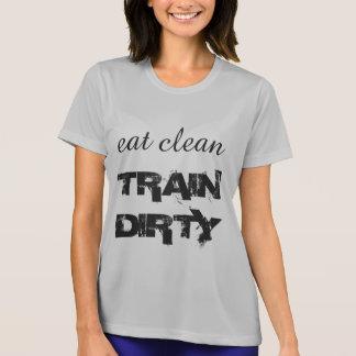 Essen Sie den sauberen schmutzigen Zug T-Shirt