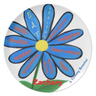 Essen Sie gesunde blaue BlumenkindernamensTeller Teller