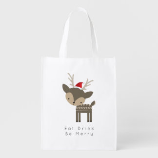 Essen Sie Getränk ist frohe Weihnacht-Rotwild in Wiederverwendbare Einkaufstasche