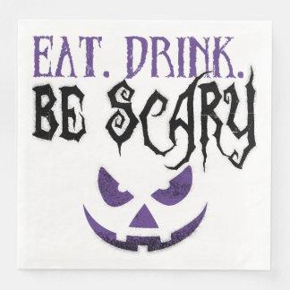 Essen Sie. Getränk. Seien Sie beängstigende Papierservietten