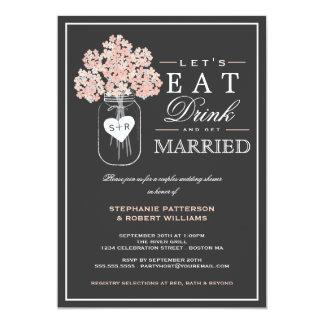Essen Sie Getränk u. erhalten Sie verheiratete 12,7 X 17,8 Cm Einladungskarte