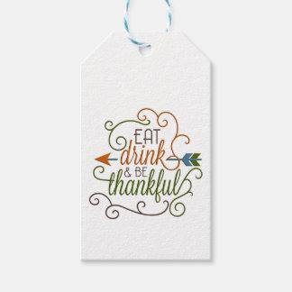 Essen Sie Getränk u. seien Sie dankbares Geschenkanhänger