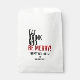 Essen Sie Getränk und seien Sie fröhliche Geschenktütchen