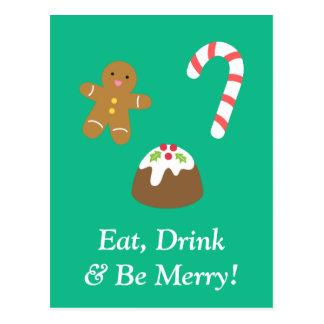 Essen Sie Getränk und seien Sie mit Postkarte