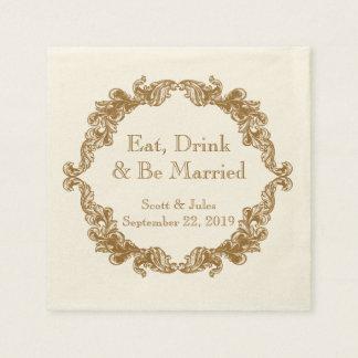 Essen Sie, Getränk und seien Sie verheiratete Papierserviette