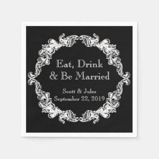 Essen Sie, Getränk und seien Sie verheiratete Serviette