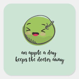 essen Sie Ihr Grüntöne sticher Quadratischer Aufkleber