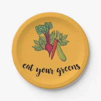 essen Sie Ihre Grüntöne Pappteller