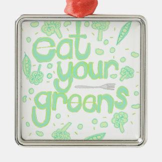 essen Sie Ihre Grüntöne Silbernes Ornament