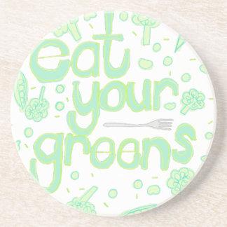 essen Sie Ihre Grüntöne Untersetzer