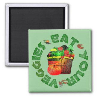 Essen Sie Ihre Veggies Quadratischer Magnet