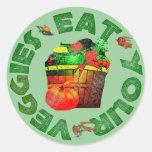 Essen Sie Ihre Veggies Runde Aufkleber