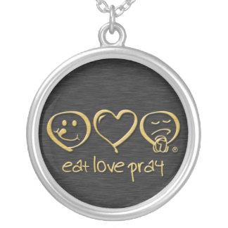 Essen Sie Liebe beten Symbol Versilberte Kette