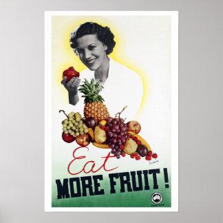 Essen Sie mehr Frucht ~ Vintage Australien-Reise Poster