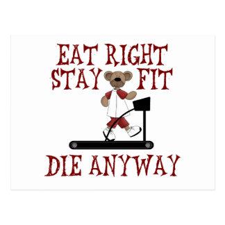 Essen Sie nach rechts - Aufenthalt-Sitz Postkarte