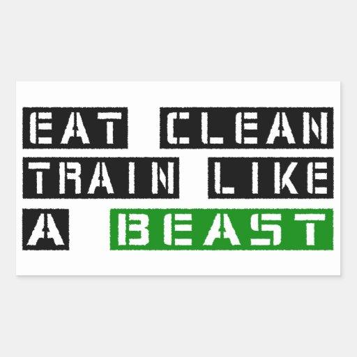 Essen Sie sauberen Zug wie ein Tier Rechteckige Sticker
