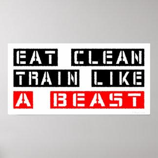 Essen Sie sauberen Zug wie ein Tier im Rot Poster