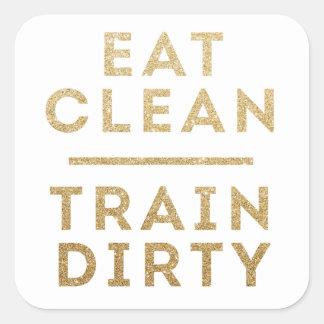 Essen Sie sauberer Zug-schmutzige Quadrat-Aufkleber