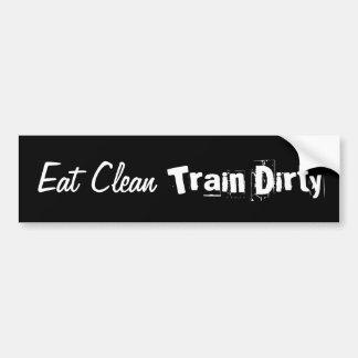 Essen Sie sauberes. Bilden Sie schmutzigen Autoaufkleber