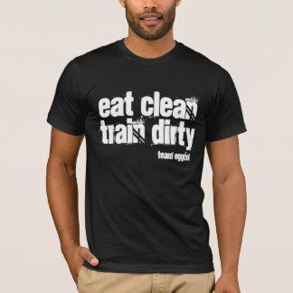 essen Sie sauberes und der schmutzige Zug ist Ihr T-Shirt