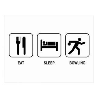 Essen Sie Schlaf-Bowling Postkarte