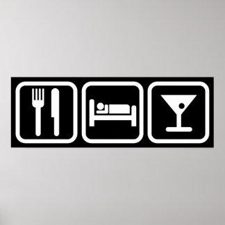 Essen Sie Schlaf-Cocktails Poster