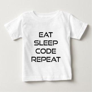 Essen Sie Schlaf-Code-Wiederholung Baby T-shirt