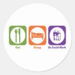 Essen Sie Schlaf erledigen Sozialarbeit Runde Aufkleber
