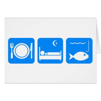 Essen Sie Schlaf-Fischblau Grußkarte