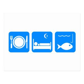 Essen Sie Schlaf-Fischblau Postkarten