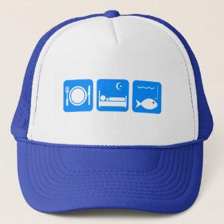 Essen Sie Schlaf-Fischblau Truckerkappe