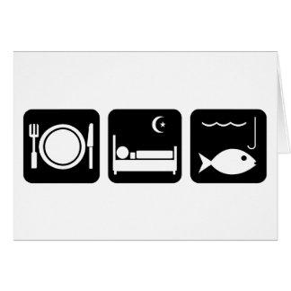 Essen Sie Schlaf-Fische 1 Grußkarte