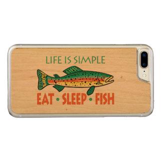 Essen Sie Schlaf-Fische - lustiges Carved iPhone 8 Plus/7 Plus Hülle