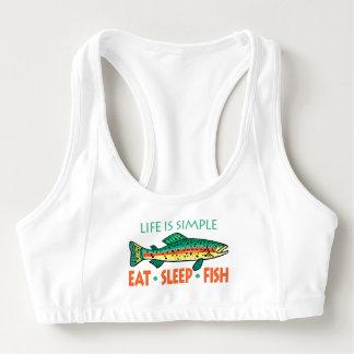 Essen Sie Schlaf-Fische - lustiges Sport-BH