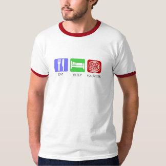 Essen Sie Schlaf-freiwilligen Feuerwehrmann T-Shirt