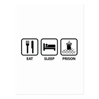 Essen Sie Schlaf-Gefängnis Postkarte