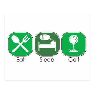 Essen Sie Schlaf-Golf Postkarte