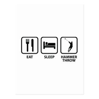 Essen Sie Schlaf-Hammer-Wurf Postkarte