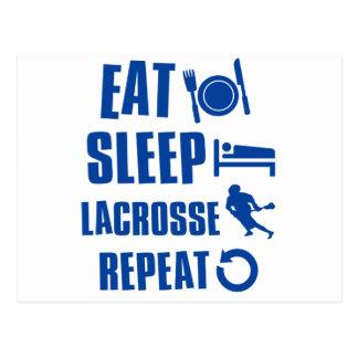 Essen Sie Schlaf Lacrosse Postkarte