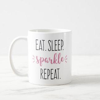 Essen Sie Schlaf-Schein-Wiederholungs-Rosa-und Kaffeetasse