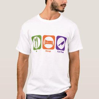 Essen Sie Schlaf-Schnitt-Fleisch T-Shirt