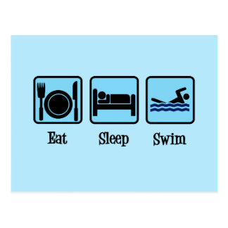 Essen Sie Schlaf-Schwimmen Postkarte