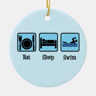 Essen Sie Schlaf-Schwimmen Rundes Keramik Ornament