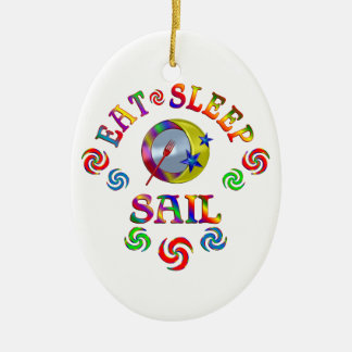 Essen Sie Schlaf-Segel Ovales Keramik Ornament