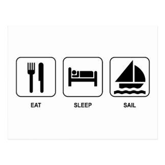 Essen Sie Schlaf-Segel Postkarte